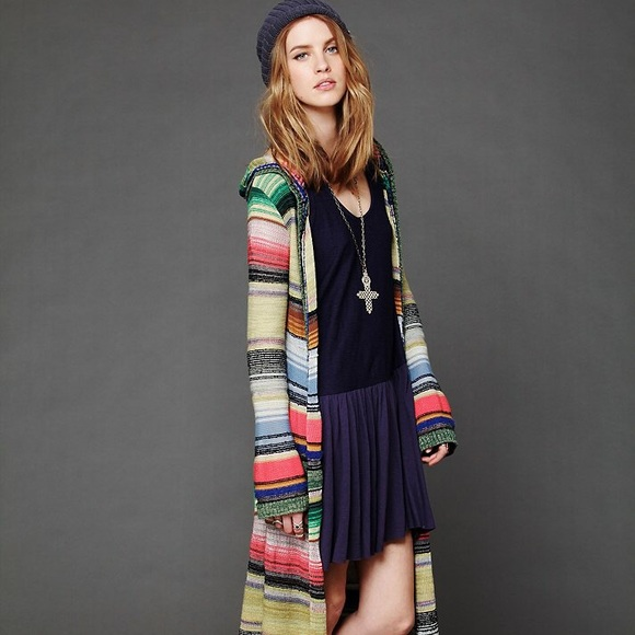 56220db2ab83 Free People Sweaters - Free People Long Sleeve Rainbow Duster With Hood